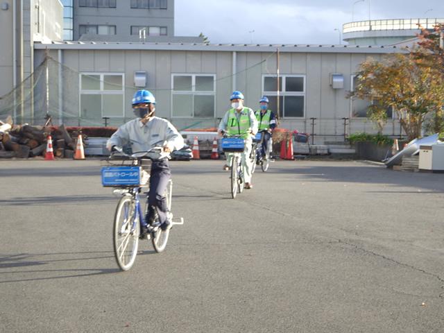 電動アシスト自転車による土木事務所への参集の様子